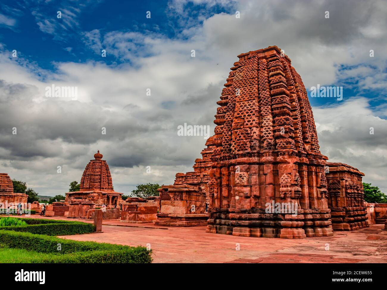 pattadakal temple group of monuments breathtaking stone art from different angle with amazing sky. It's one of the UNESCO World Heritage Sites and com Stock Photo