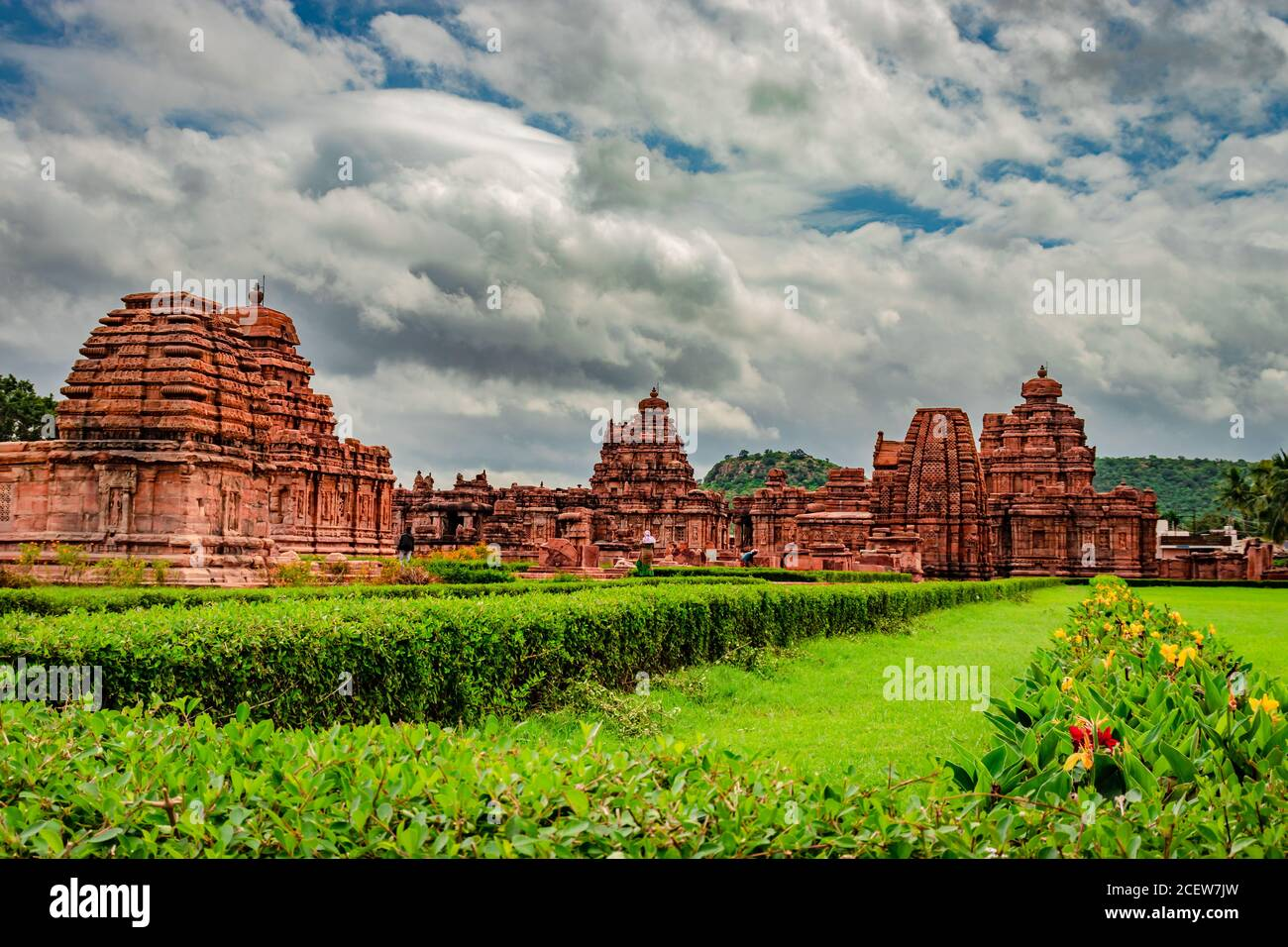 pattadakal temple complex group of monuments breathtaking stone art with dramatic sky karnataka india. It's one of the UNESCO World Heritage Sites and Stock Photo
