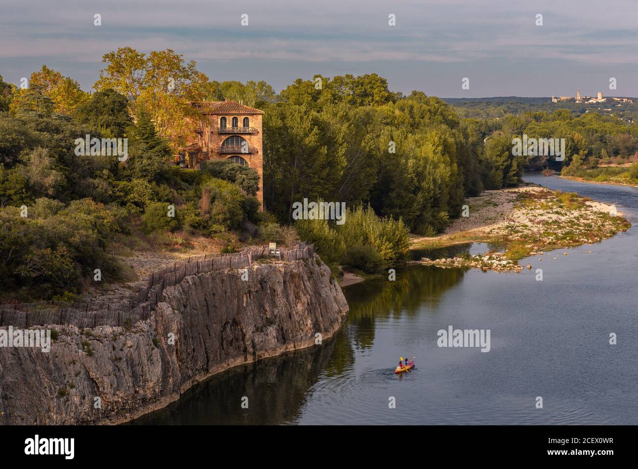 A river valley in Provence, France, summer time. Stock Photo