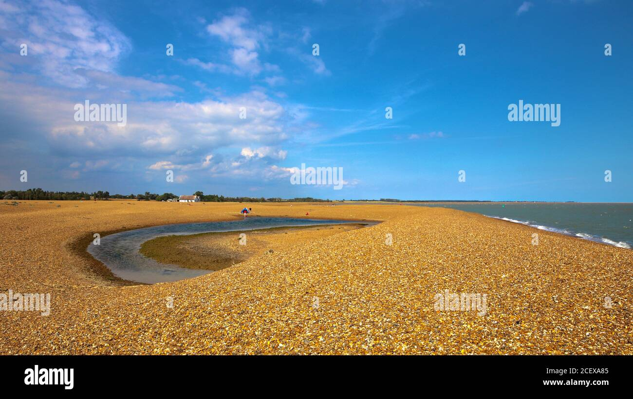 Shingle Street, Woodbridge, Suffolk, UK - 2 September 2020: Beautiful day on this remote part of the East Anglia coast. Stock Photo