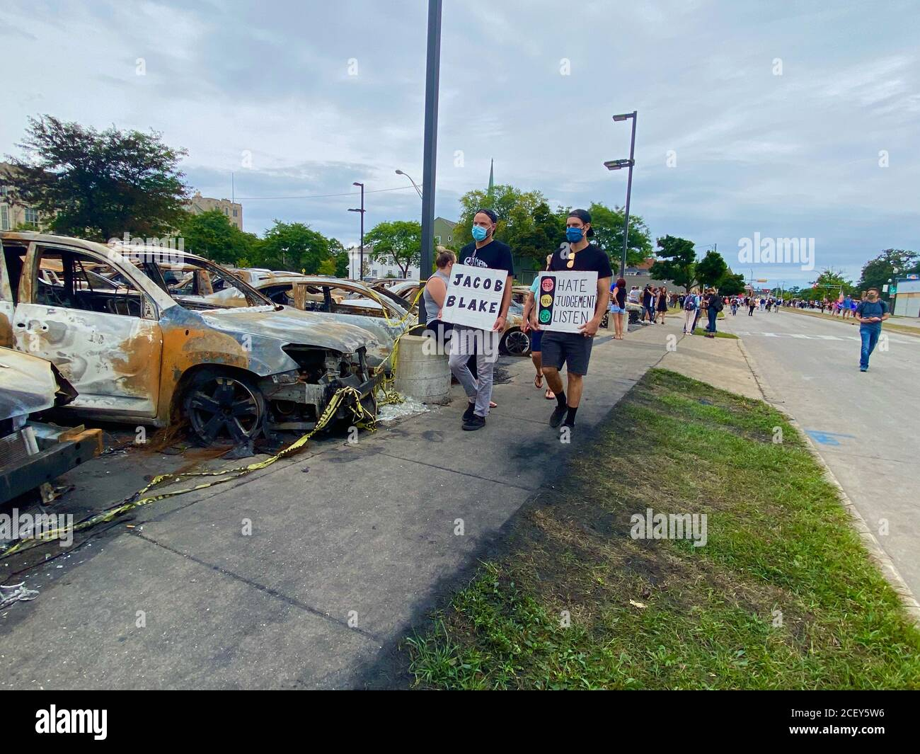 Kenosha, Wisconsin, USA. 1st Sep, 2020. BLM Protestors Protestors at the rally space in front of the Kenosha courthouse during President Trump's controversial visit on September 1. Credit: Amy Katz/ZUMA Wire/Alamy Live News Stock Photo