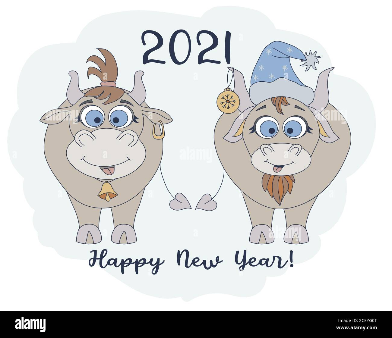 year of the bull 2021 funny characters a cute bull in a new years hat and https www alamy com year of the bull 2021 funny characters a cute bull in a new years hat and a funny cow with a haircut new year card and happy new year greetings image370628184 html