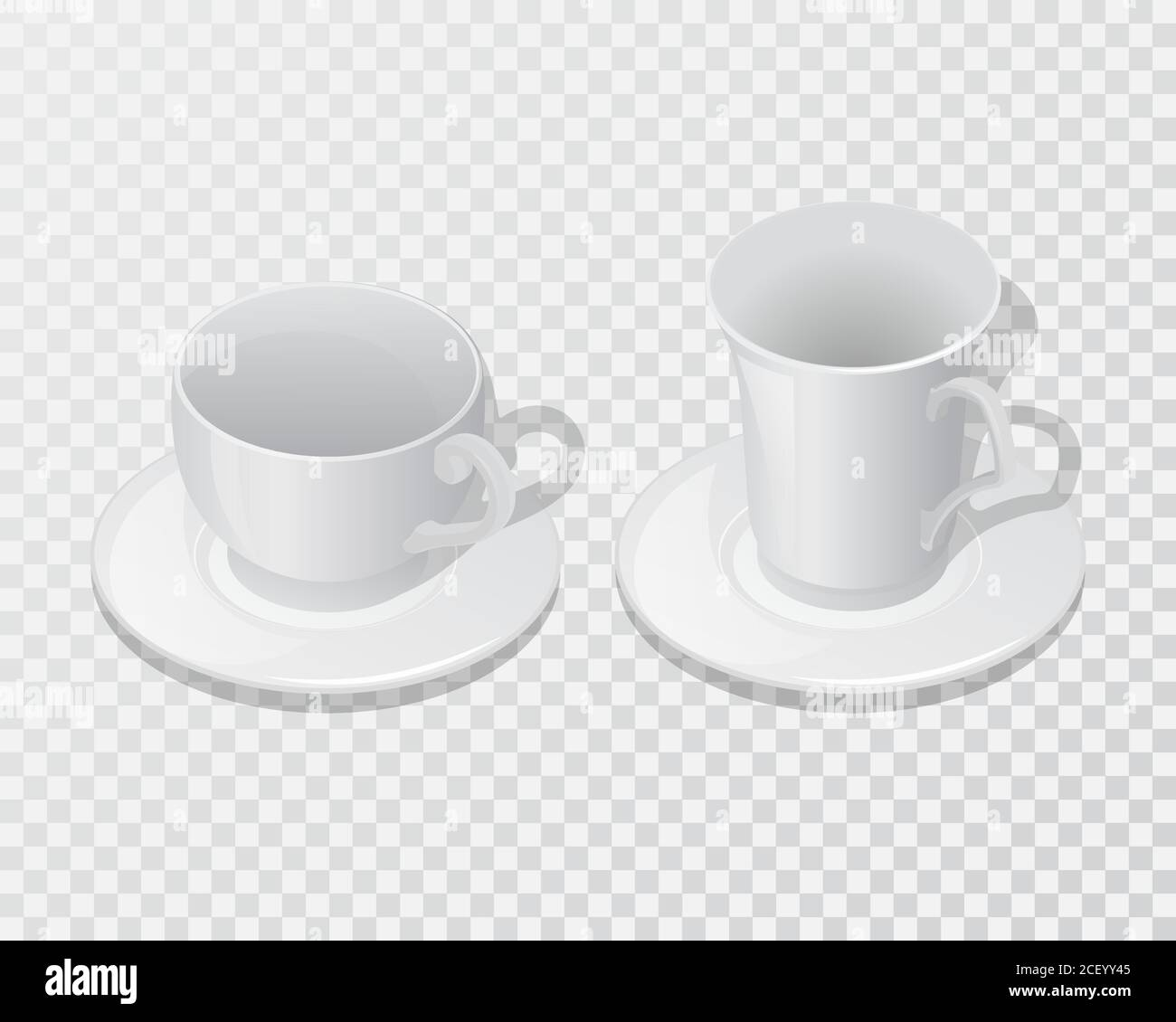 Set Of Ceramic Dishes For Drinks Cups With Saucer On A Transparent Isolated Background Mock Up Template For Design 3d Isometry Vector Illustration Stock Vector Image Art Alamy