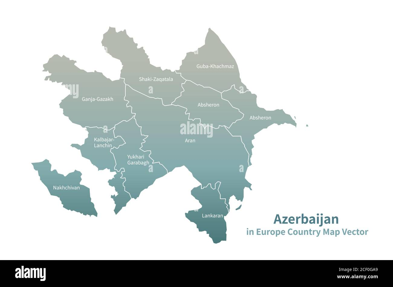 Azerbaijan Vector Map European Country Map Green Series Stock Vector Image Art Alamy