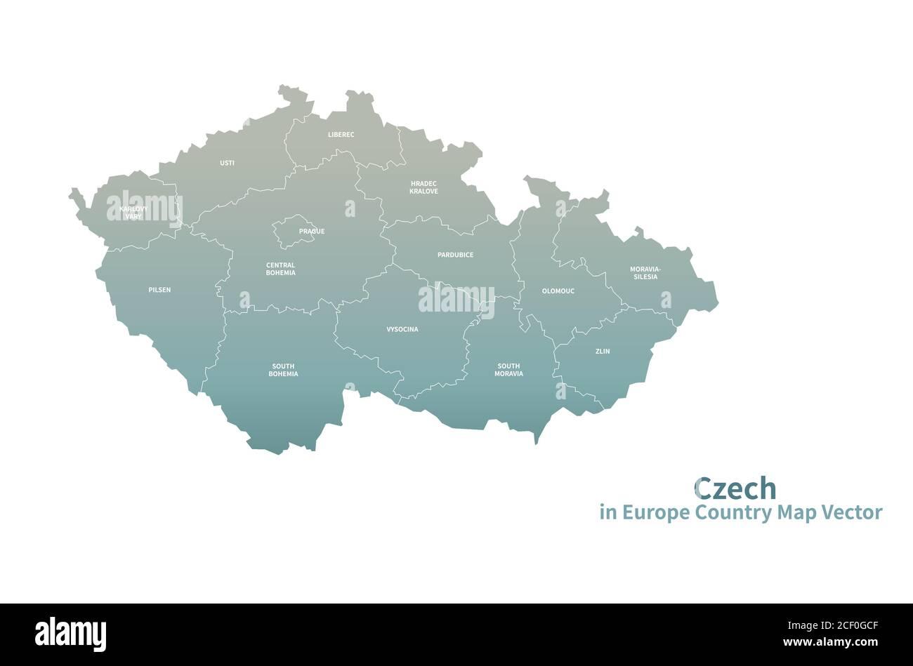 Czechia Vector Map European Country Map Green Series Stock Vector Image Art Alamy