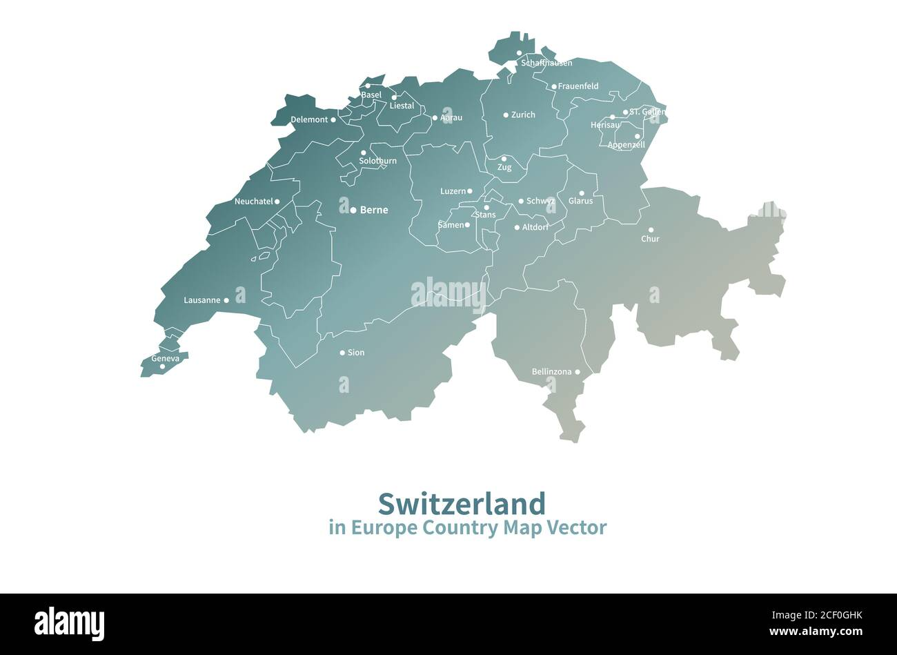 Picture of: Switzerland Vector Map European Country Map Green Series Stock Vector Image Art Alamy