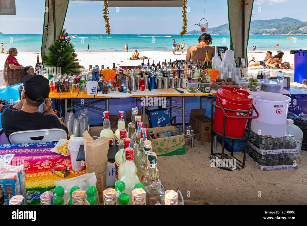 Beach bar on the sand at Patong, Phuket, Thailand Stock Photo