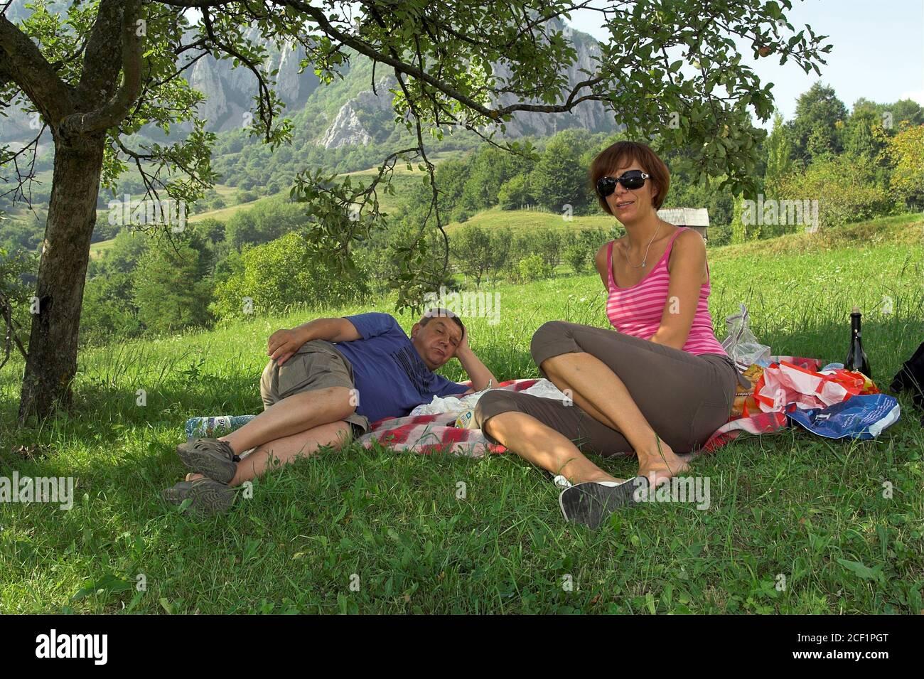 A picnic in the grass under the shade of a tree on a clear summer day. Ein Picknick im Gras im Schatten eines Baumes an einem klaren Sommertag. Stock Photo