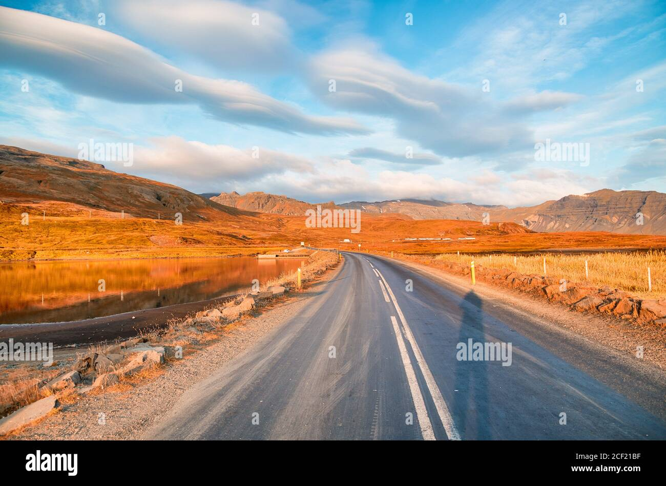 Beautiful landscape scenario with dramatic sky along the ring road, route 1 in Iceland, Europe. Stock Photo