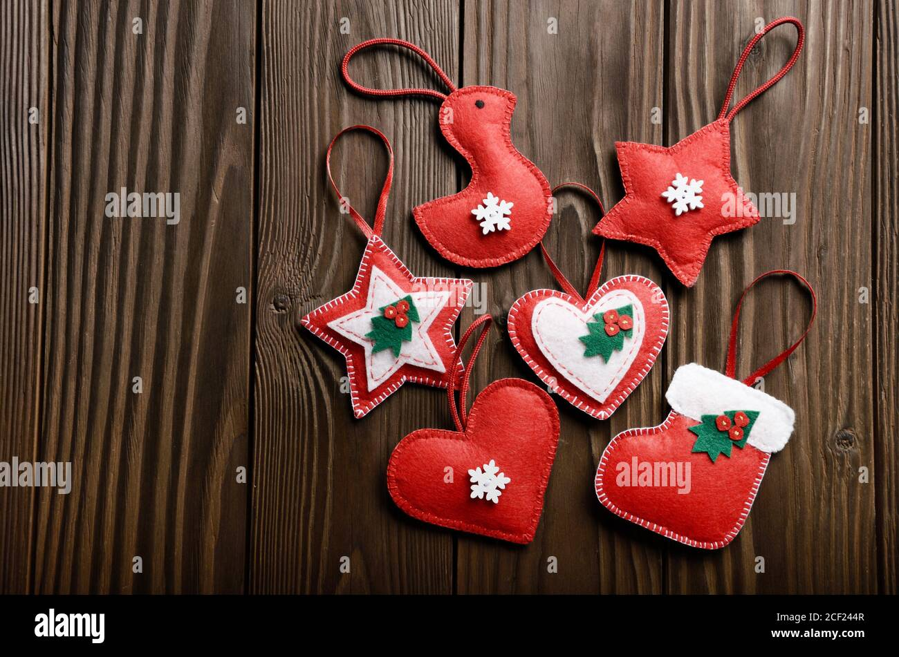 Handmade Rustic Christmas Tree Decorations On Wooden Table Stock Photo Alamy