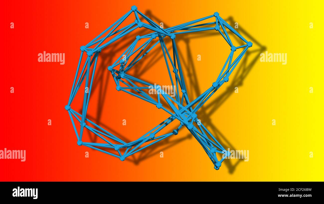wire frame model of torus knot - 3D Rendering. Stock Photo