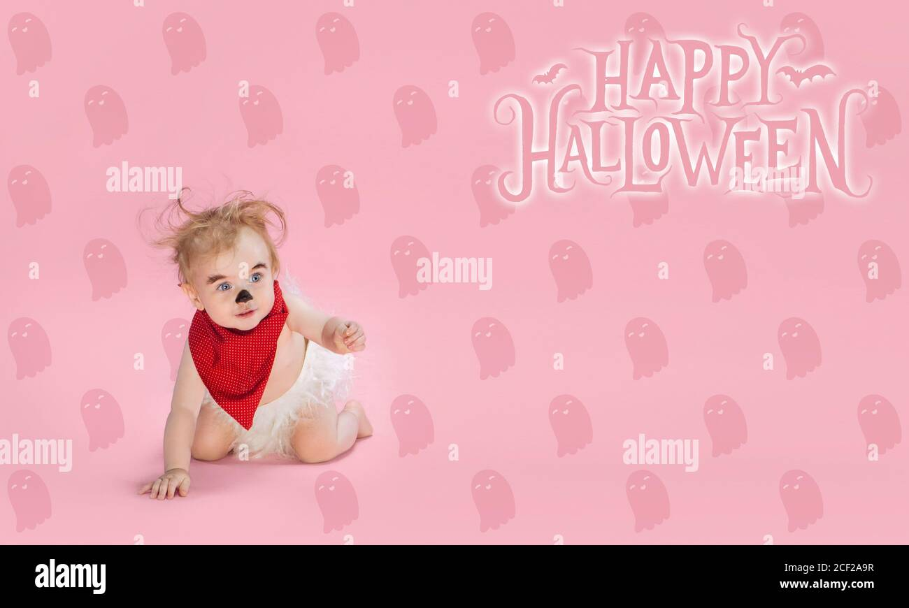 Little Girl As Vampire On Pink Background Halloween Time Flyer With Copyspace Black Friday Cyber Monday Sales Autumn Concept Flyer For Your Ad Halloween Mood October Time Scary And Stylish Stock Photo