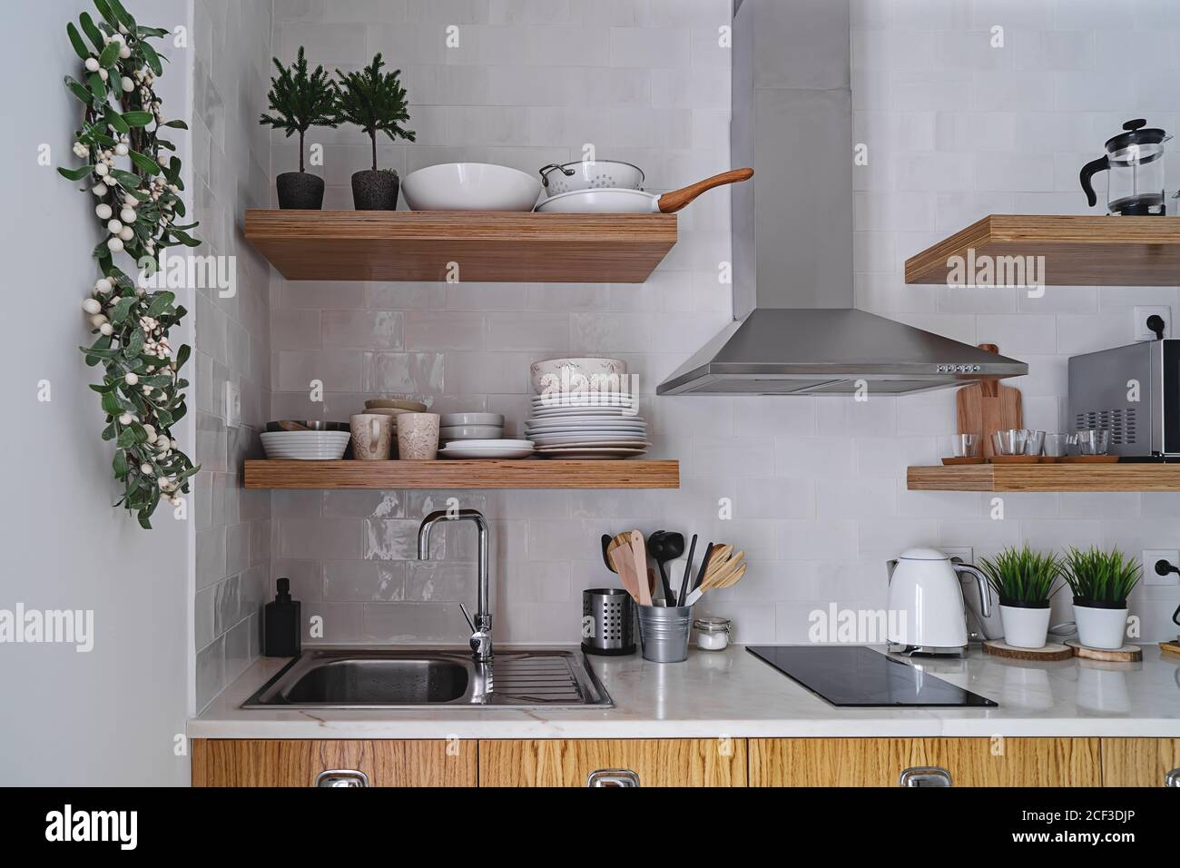 Modern Kitchen Interior With White Brick Tile Wall In Scandinavian Style Wooden Shelf And Tableware Stock Photo Alamy