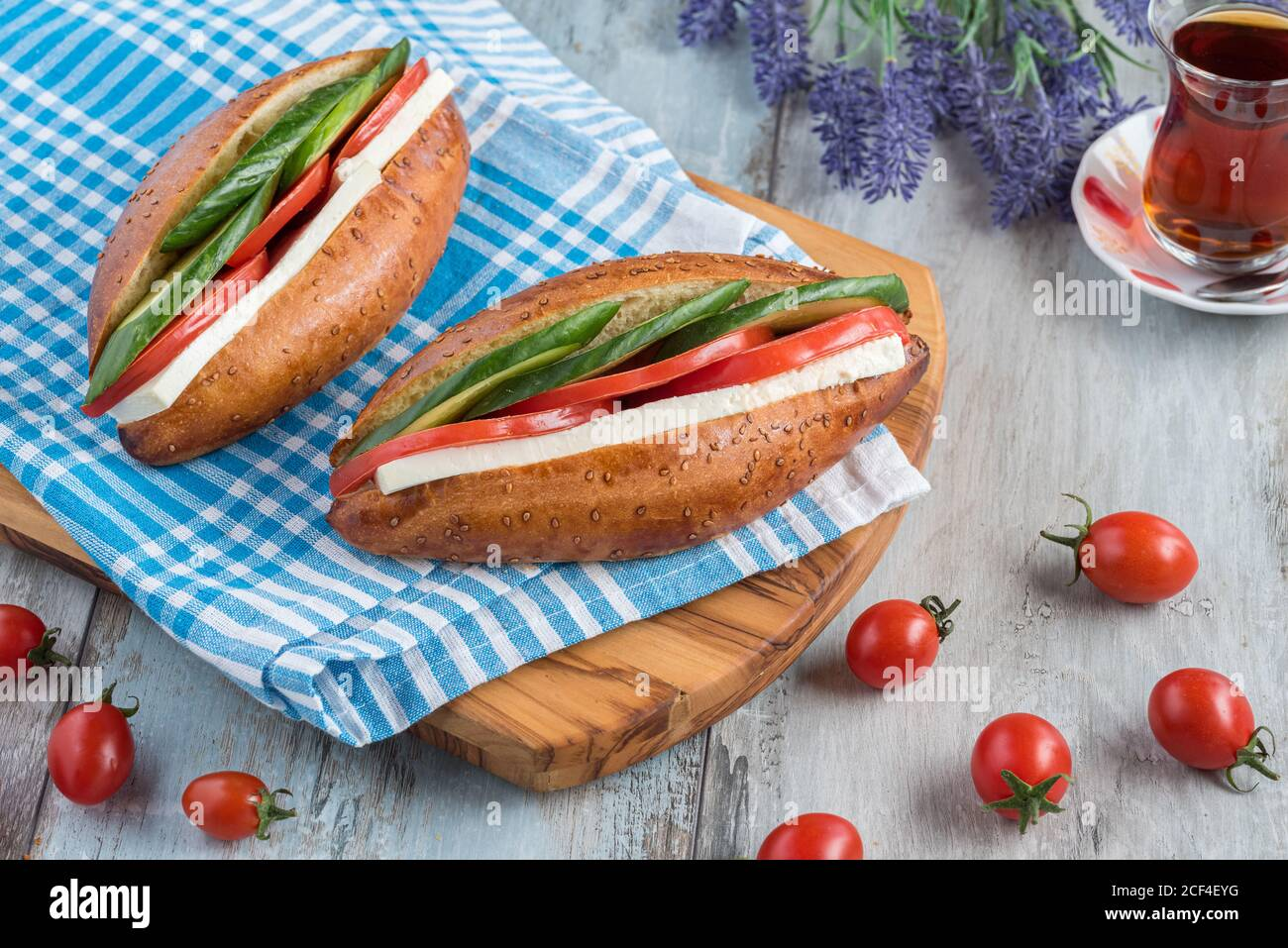 Kumru Traditional Turkish Izmir Sandwich And Turkish Tea Stock Photo Alamy