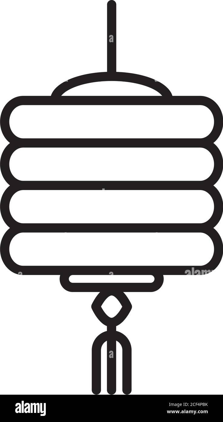 chinese ornament decoration lantern traditional linear style icon vector illustration Stock Vector
