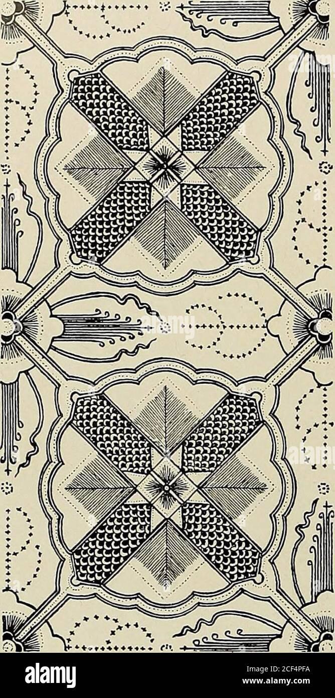 . De inlandsche kunstnijverheid in Nederlandsch Indië. Fig. 195. Ganggong branta (no. 16 op blz. 148). 20. Ganggong seprantoe latar irêng. Sëprantoe = de Sindora Sumatrana Miq, behoorende tot de Leguminosae. Groote, aanelkaar grenzende vierkanten als van een scheef dambord. Elke hoek van een vierkant is bedektdoor een bladvormig ornament. Het eene vierkant is kruisvormig met lijnen geornamenteerd ;in het daaraan grenzende vierkant zijn de sëprantoe bloemen geteekend; deze vierbladige 149 bloemen zijn op de teekening het best te vergelijken met zeesterren; in het ornament wordteen werveling, ee Stock Photo