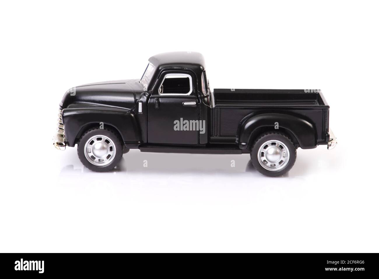Side View Of Black Old Style Model Pickup Truck On White Background Stock Photo Alamy