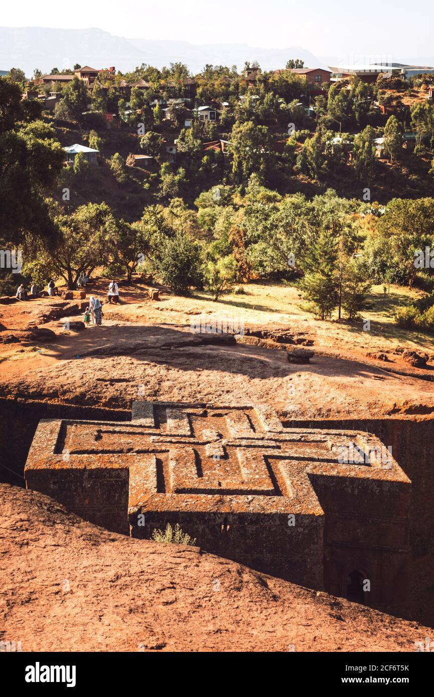 One of the Rock-hewn churches in Lalibela, Ethiopia Stock Photo