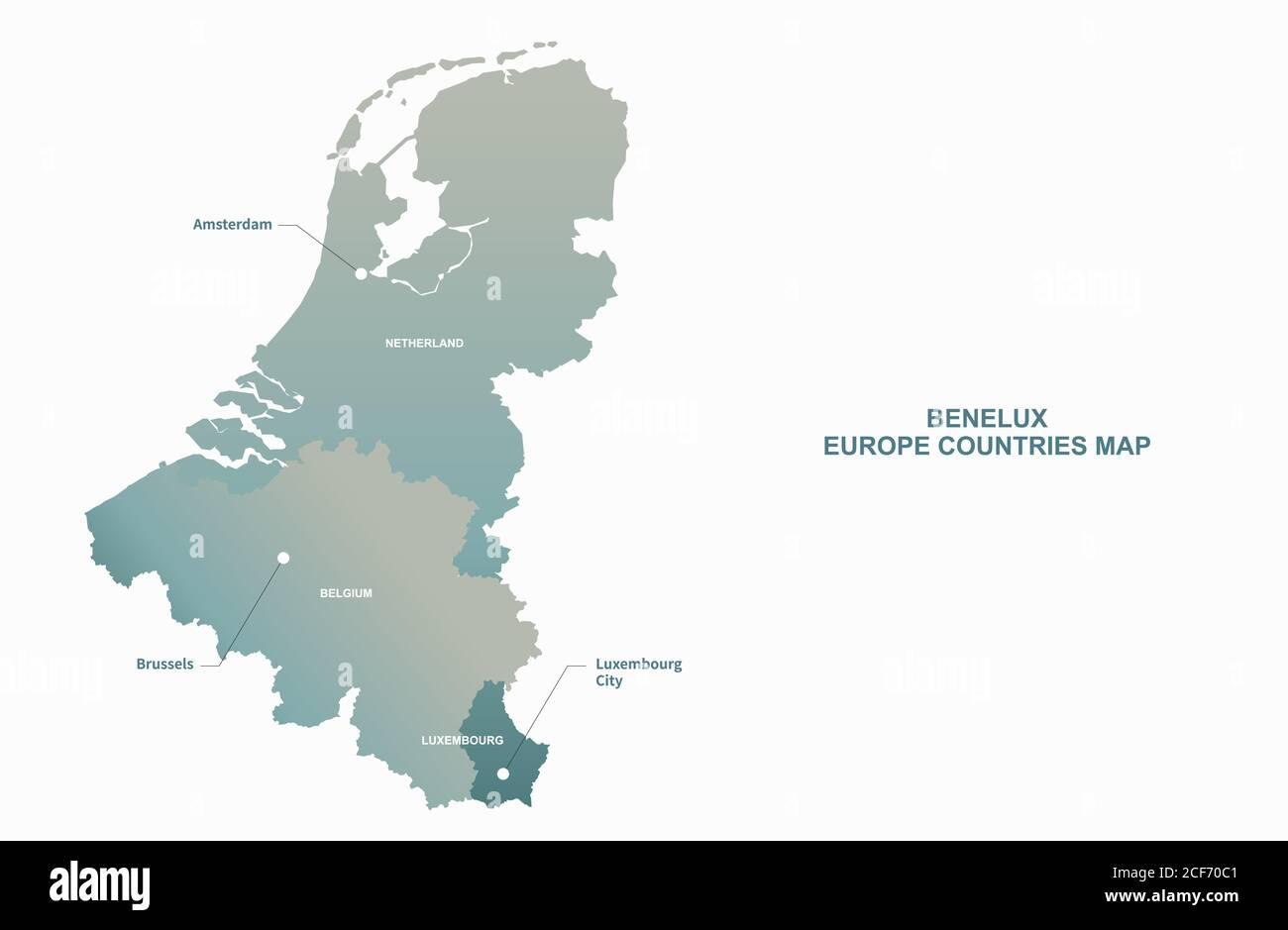 The Benelux Union Vector Map Economic Union In Western Europe Stock Vector Image Art Alamy