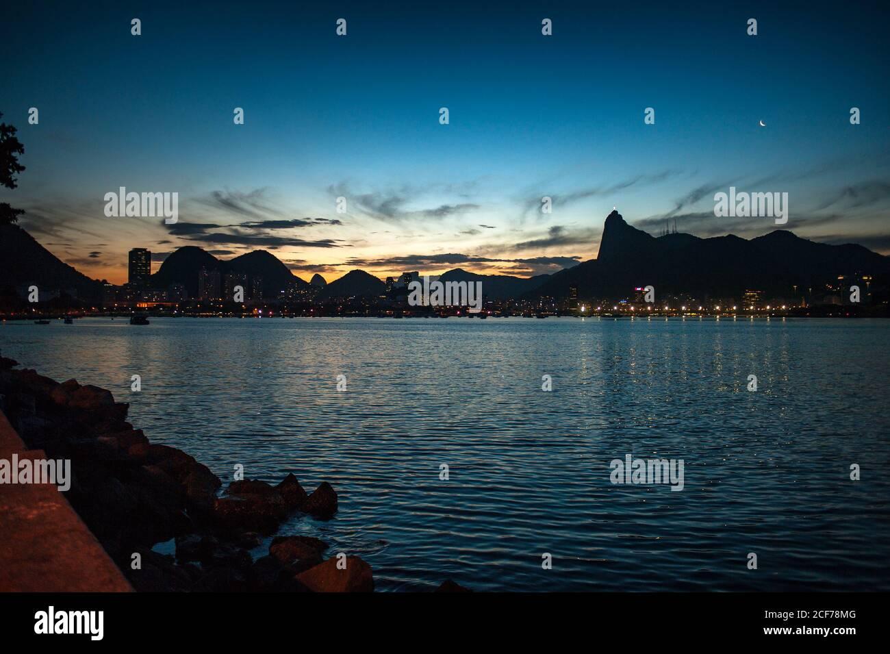 Nice views of a beach in Rio de Janeiro at sunset Stock Photo
