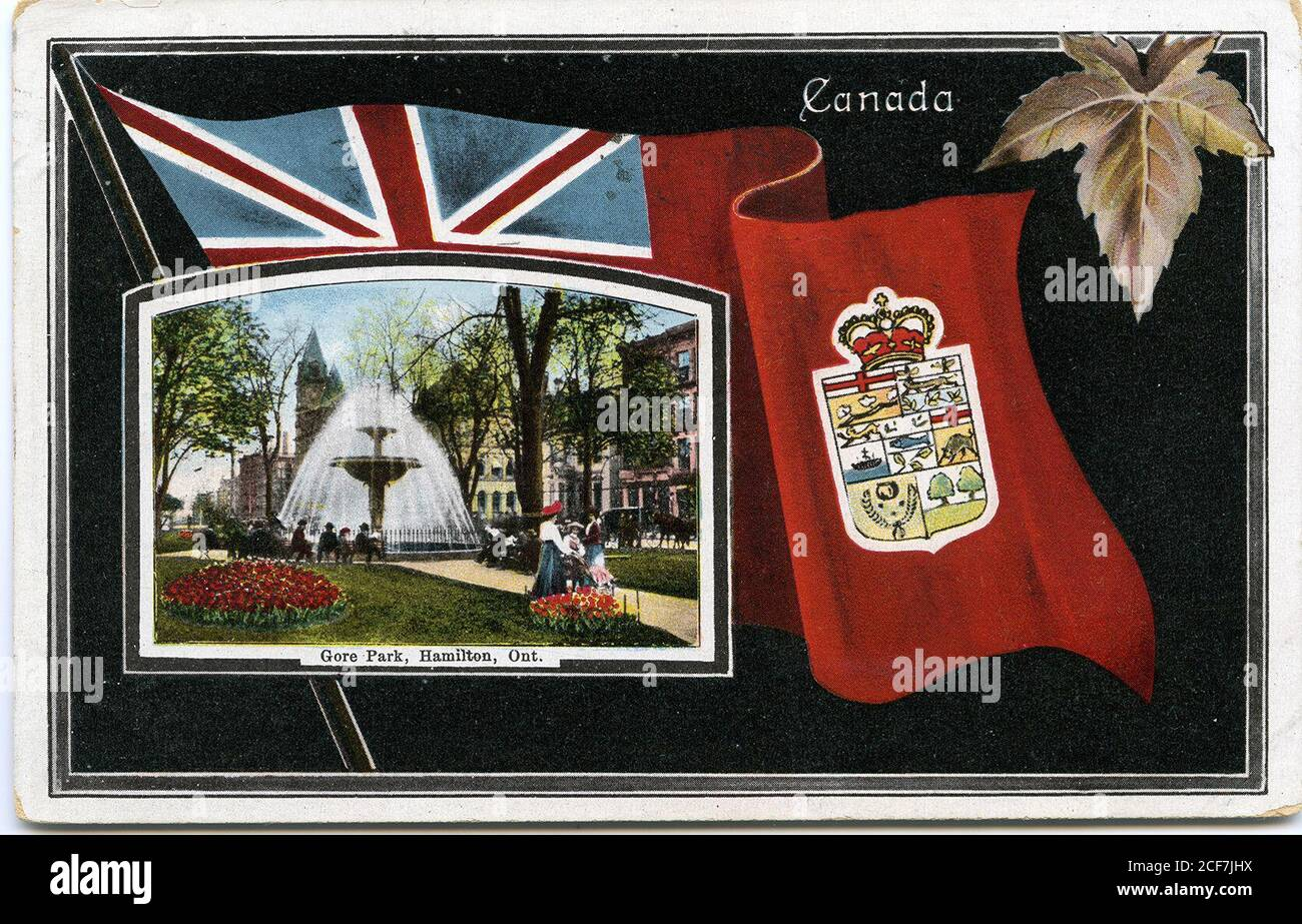 The postcard features a black background with an inset image of the Gore Park fountain ontop of the Canadian Red Ensign with the Hamilton emblem. A maple leaf is situated in the top right corner.  The postcard is addressed to [Miss] J. Smith, 77 St. Joseph St, Toronto, [F.A.T.]. The verso has a 1 cent green Canadian stamp with wavy cancellation marks. The return stamp is dated September 26, 1909, 12 PM, Hamilton. The number S B 2261 is printed on the verso. The postcard corners are slightly bent.  Postcard Collection HPL PC s18 71r 32022206615649 Stock Photo