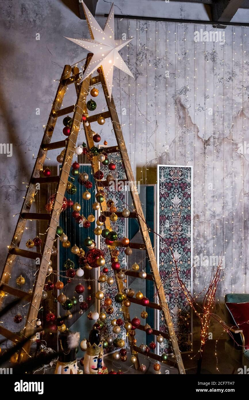 Picturs Of 2021 Decoratied Christmas Trees Modern Stylish And Creative Christmas Tree Christmas Decoration New Year 2021 Twinkle Star Lamp Christmas Night Mood For Celebration Of Christmas Stock Photo Alamy