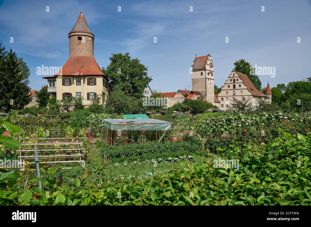 Salwarten tower and gardens in front, Nördlinger Tor behind, Dinkelsbuhl, Central Franconia, Bavaria, Germany Stock Photo