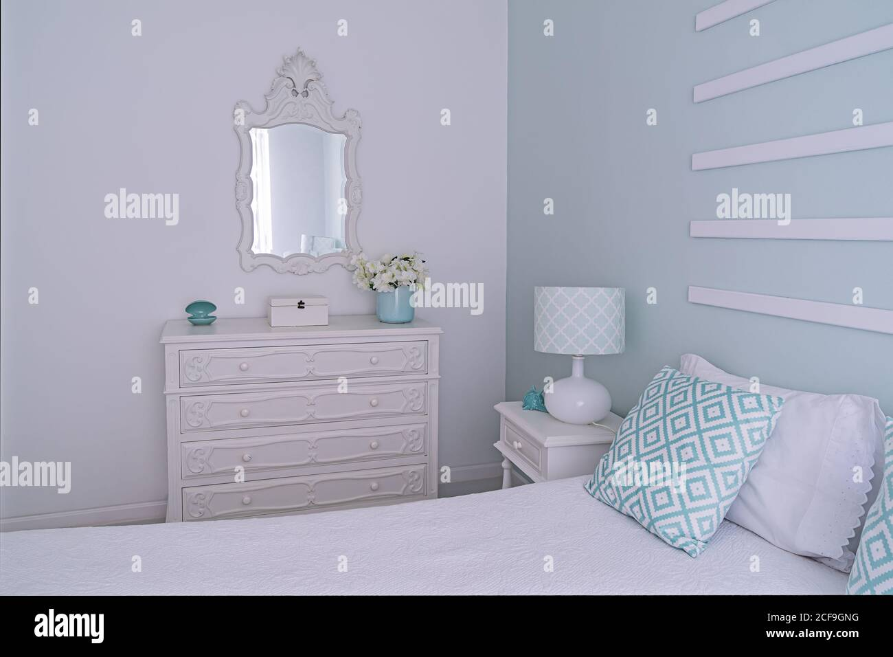 Shabby Chic Style Mint Pastel Bedroom Cozy Bright And Light Bedroom With Decor Stock Photo Alamy