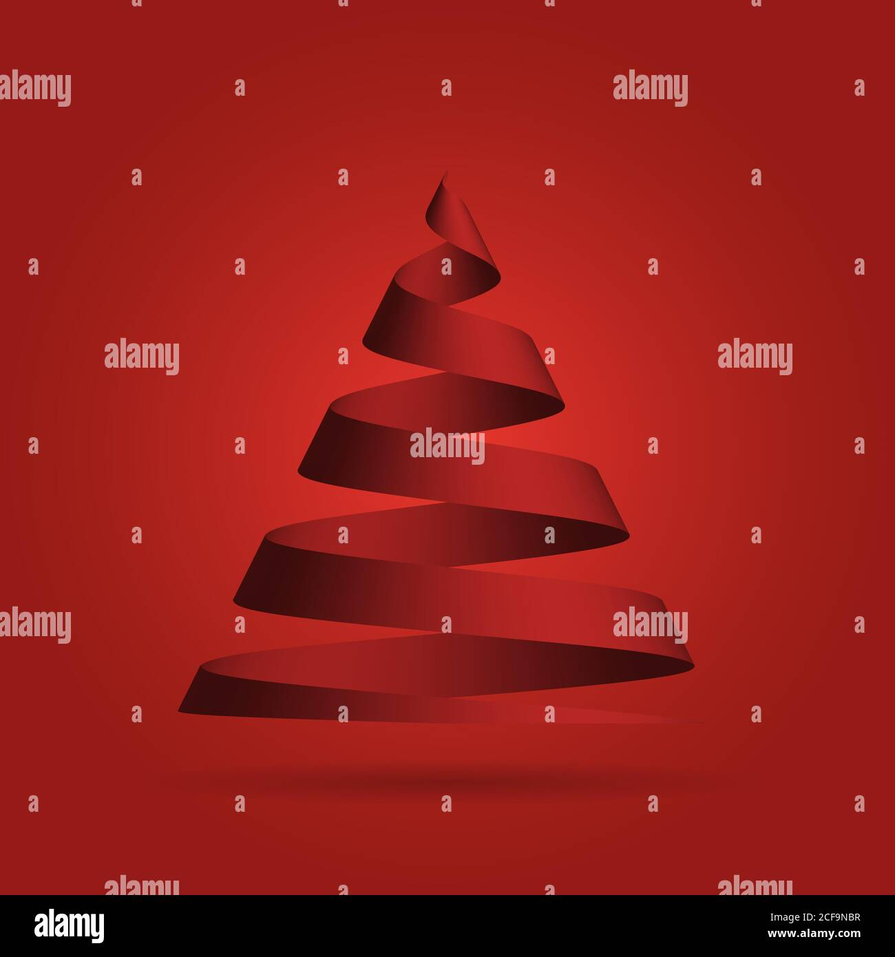 Simple Red Ribbon In A Shape Of Christmas Tree Merry Christmas Theme 3d Vector Illustration With Dropped Shadow And Red Gradient Background Stock Vector Image Art Alamy