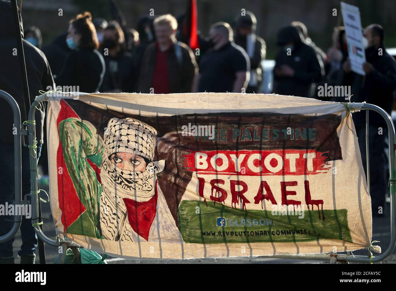A Banner Stating Free Palestine Boycott Israel Bought By Protesters Outside The Ground Before The Uefa Nations League Group F Match At Hampden Park Glasgow Stock Photo Alamy