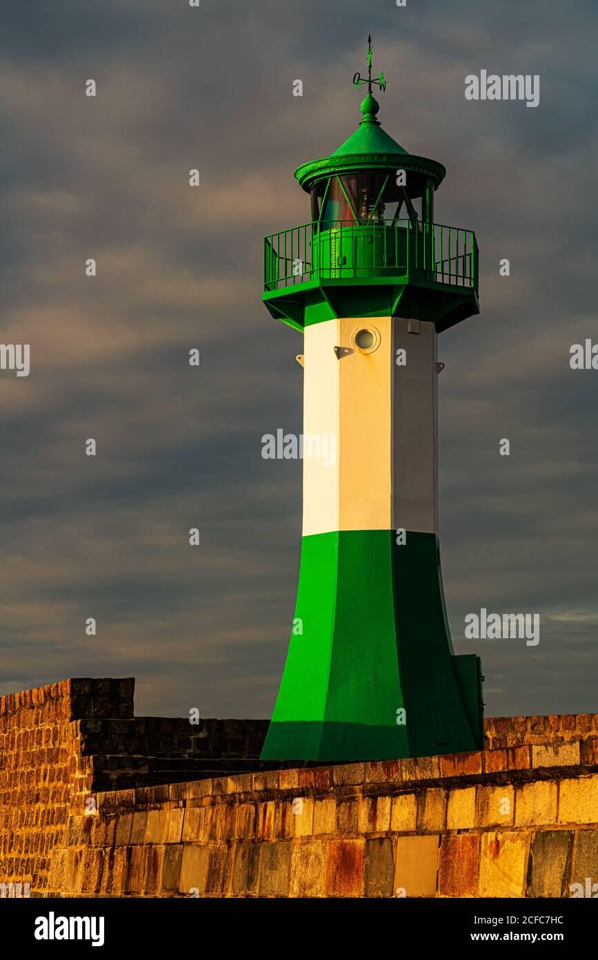 Pier light, Sassnitz, Ruegen Island, Baltic Sea Stock Photo