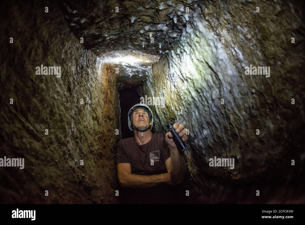 Italy, Trentino-South Tyrol, Alto Adige, Alto Adige, Etschtal, Terlan / Terlano, lead, silver, mining, Terlan silver mine, tunnels, gap in porphyry Stock Photo