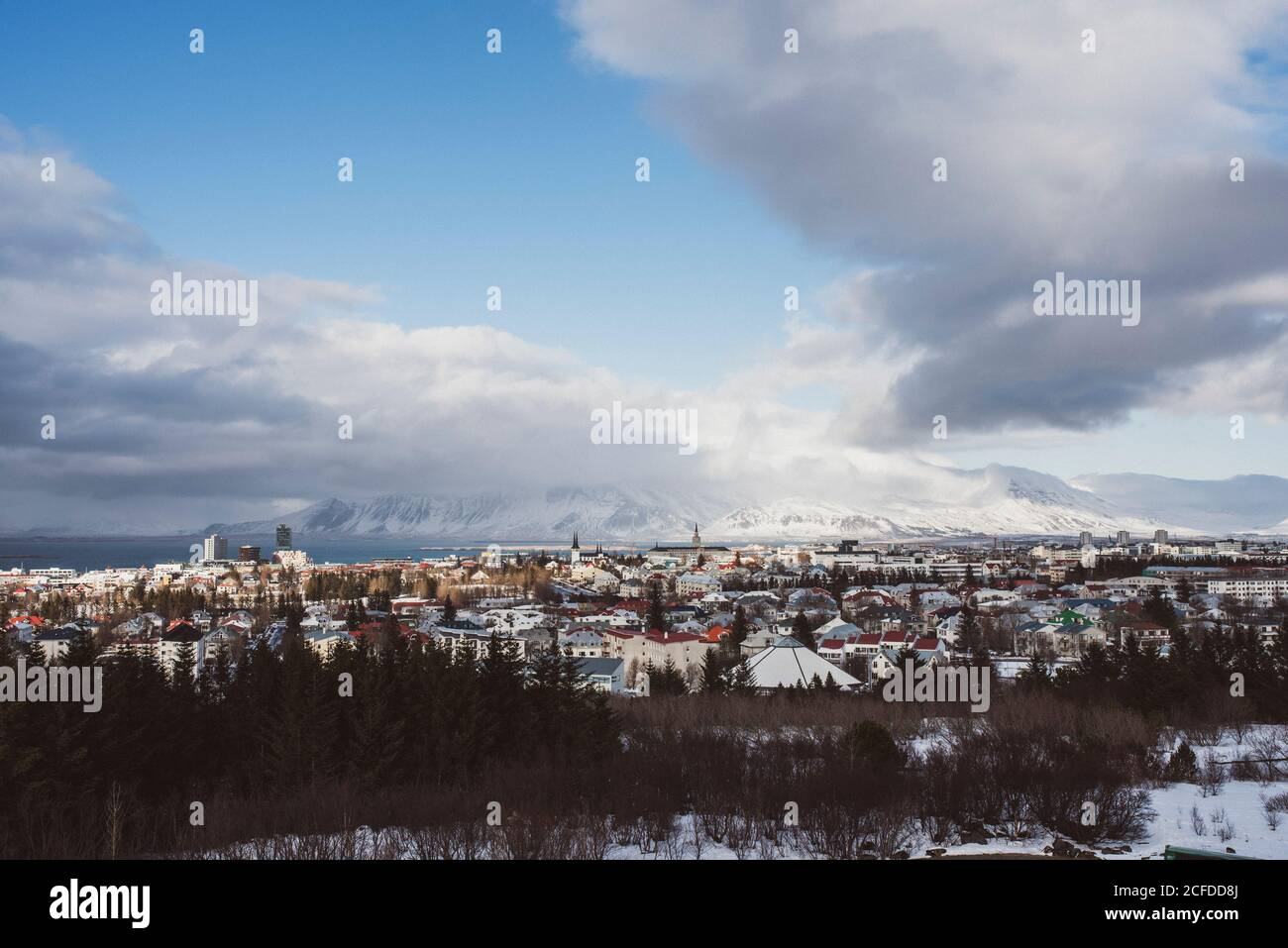 View over Reykjavik from Perlan, Iceland Stock Photo