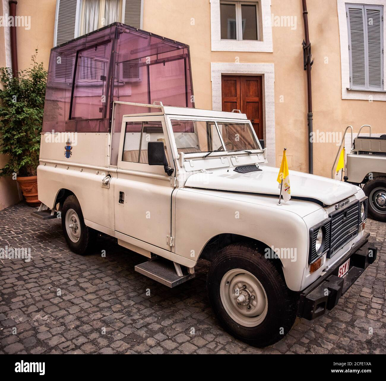 Popemobile of Pope Wojtyla John Paul II, the model is a Land Rover Santana Stock Photo