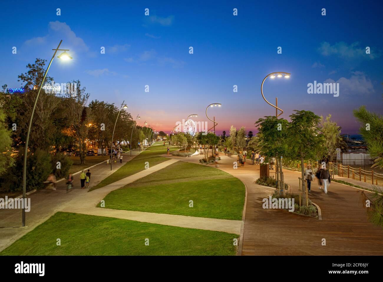 Italian travel destination seaside Rimini waterfront at sunset Stock Photo