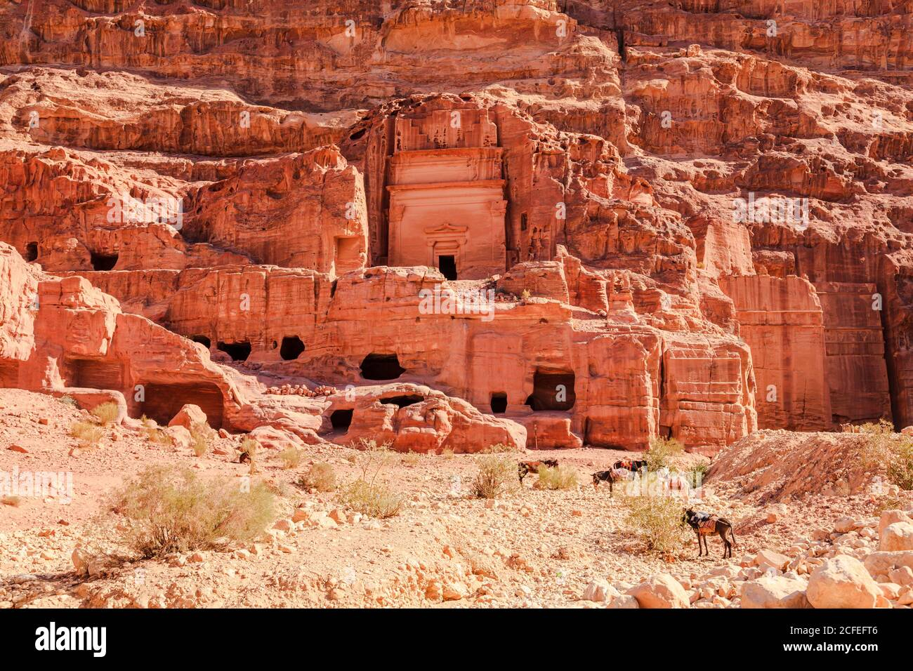 View of tombs at the Lost City of Petra in Jordan. Stock Photo
