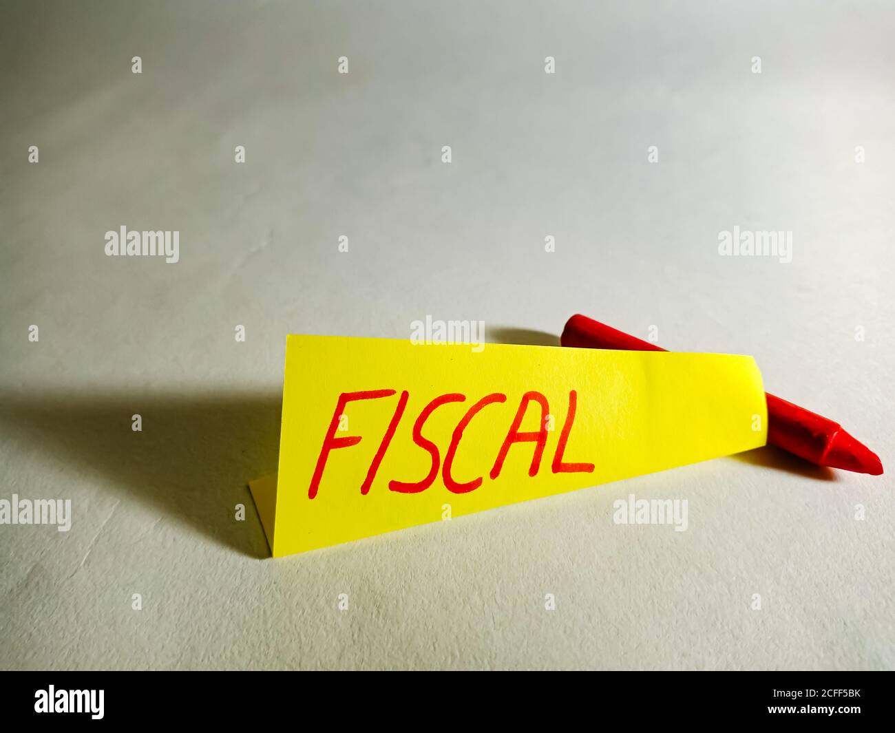 Fiscal word displayed on paper slip concept for educational informative awareness. Stock Photo