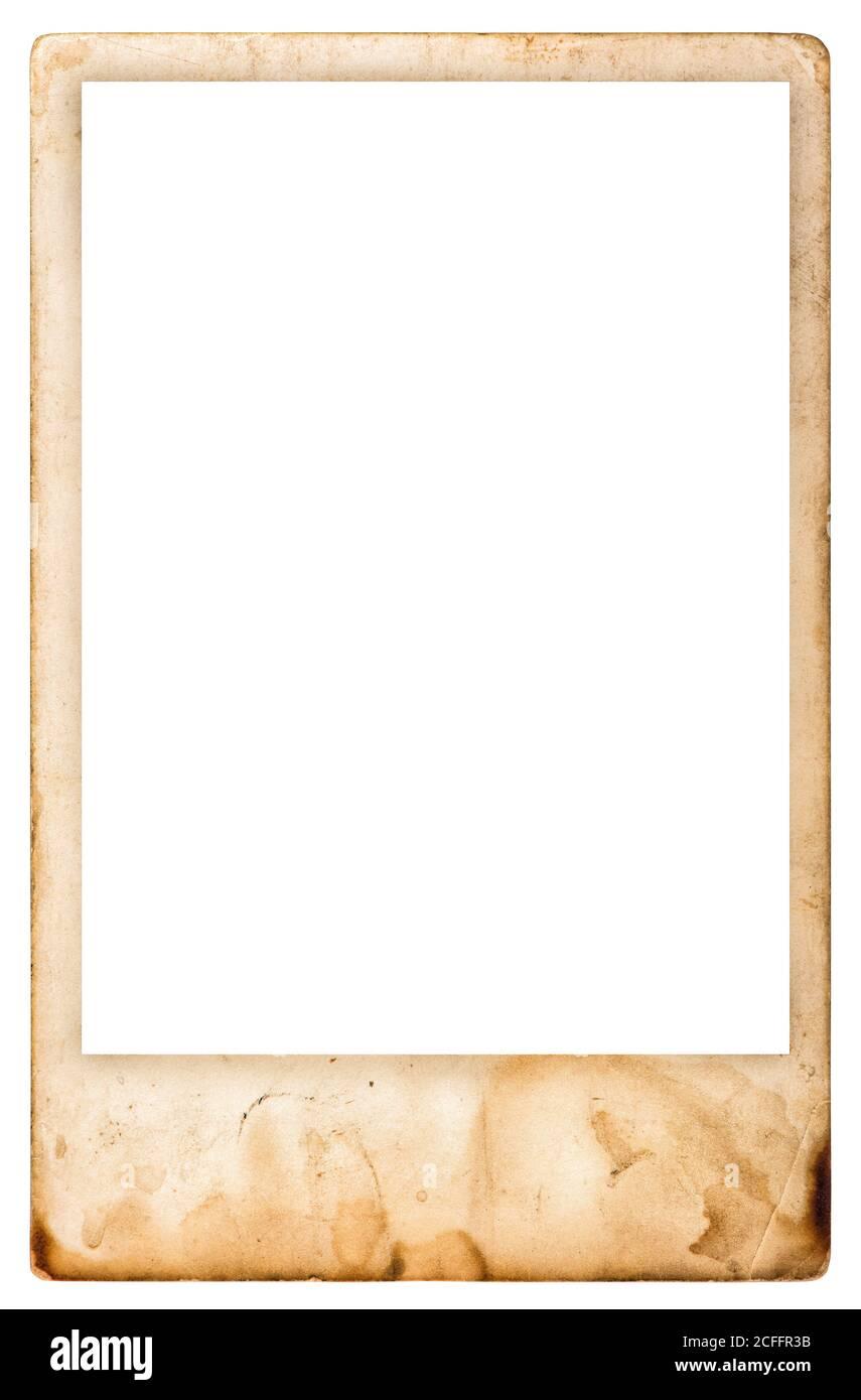 Vintage aged photo frame isolated on white background Stock Photo