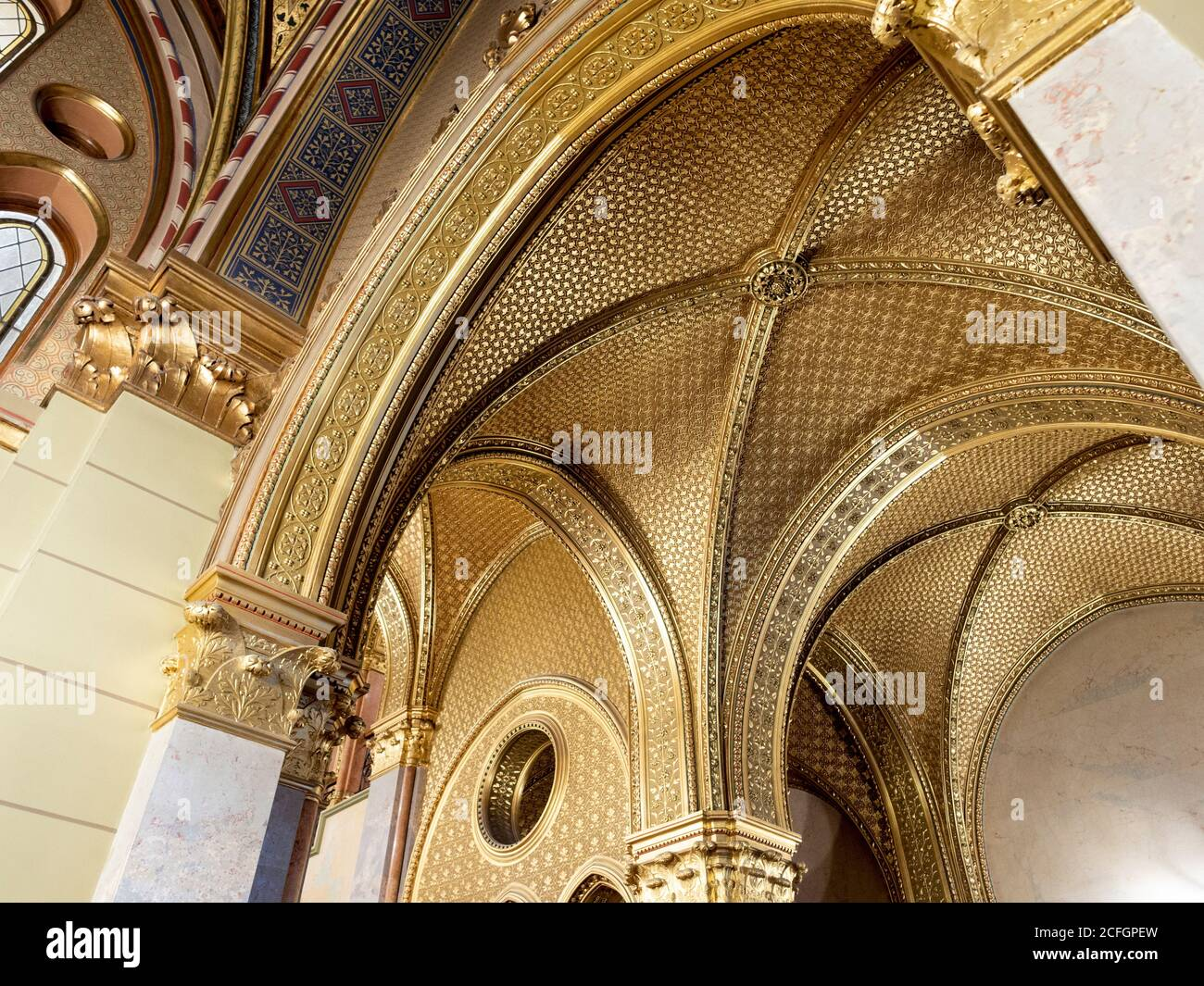 Golden Ceiling In The Hungarian Parliament Building Gold Decorates The Arches And Ceilings Of One Of The Stairways In The Massive Hungarian Parliament Building Stock Photo Alamy