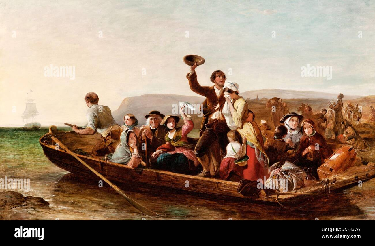"""Thomas Falcon Marshall, Emigration - The Parting Day """"Good Heaven! What Sorrows Gloom'd that Parting day etc"""" Goldsmith, 1852 Oil on canvas, Art Galle Stock Photo"""
