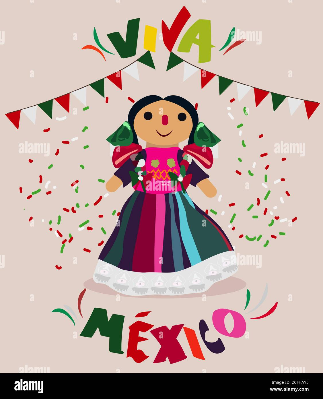 Mexican Independence Day Celebration Text In Spanish Long Live Mexico Stock Vector Image Art Alamy