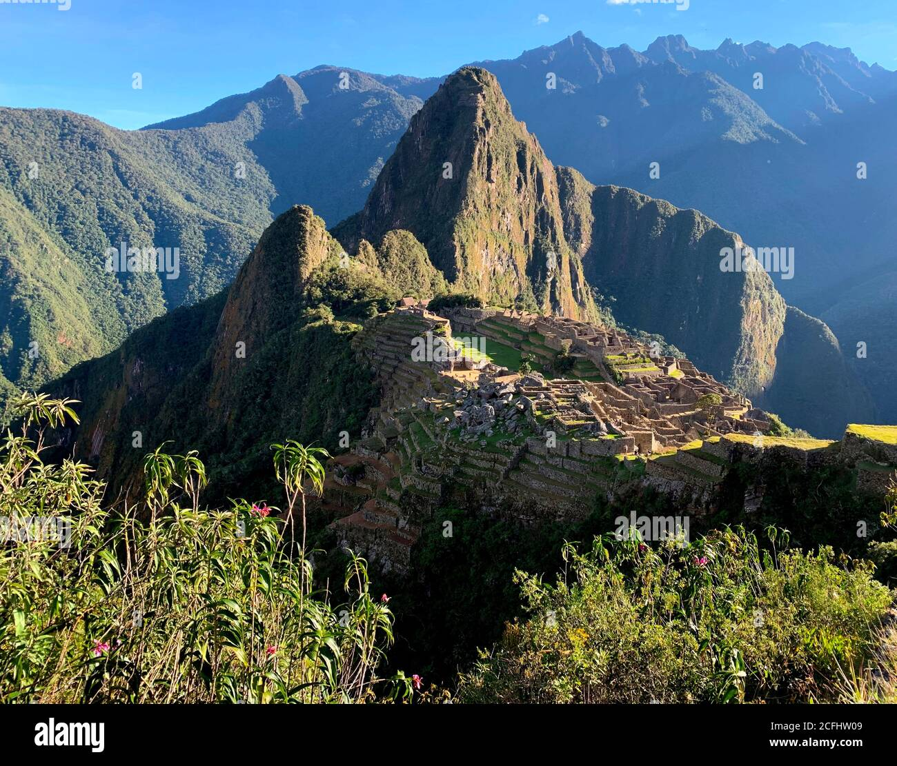 Machu Picchu Inca loct city fortress in Andes mountains Peru South America. Stock Photo