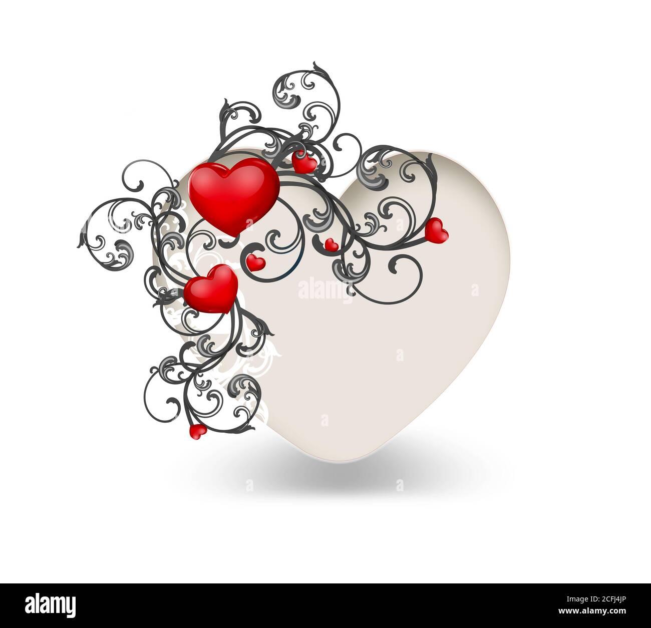 Heart Shape Floral Ornament Design Cut Out Stock Images Pictures Alamy