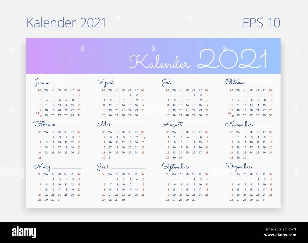 German Calendar 2021
