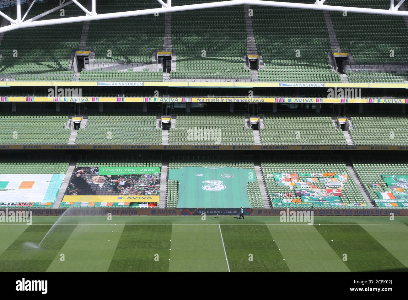 A General View Of Banners In The Stands Including A Tribute To The Late Jack Charlton Before The Uefa Nations League Group 4 League B Match At Aviva Stadium Dublin Stock Photo