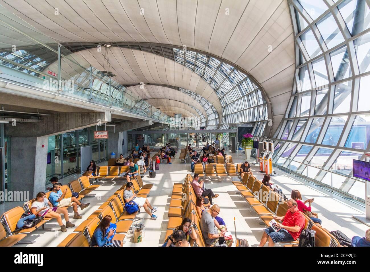 Departure area of Suvarnabhumi Airport in Bangkok, Thailand Stock Photo