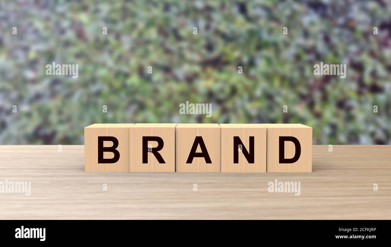 Brand word wooden cubes on table vertical with blur climb green background, mock up, template, business stack step up graph, Risk management. Brand bu Stock Photo