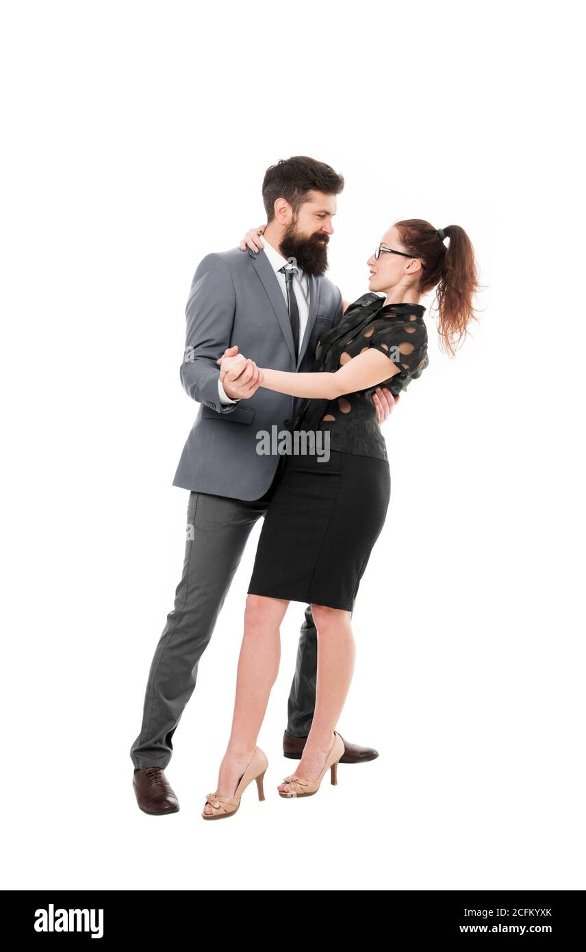 Dream job concept. Office job affair. Flirting with boss. First impressions are everything. Man and woman compete job position. Labor market competition. Job interview. Office flirt. Career company. Stock Photo