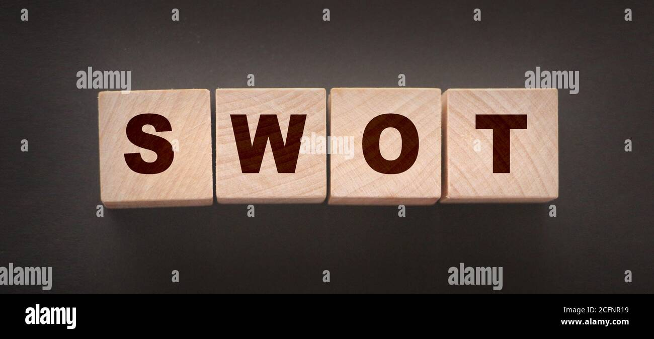 Abbreviation SWOT on wooden cubes. Business analysis concept Stock Photo