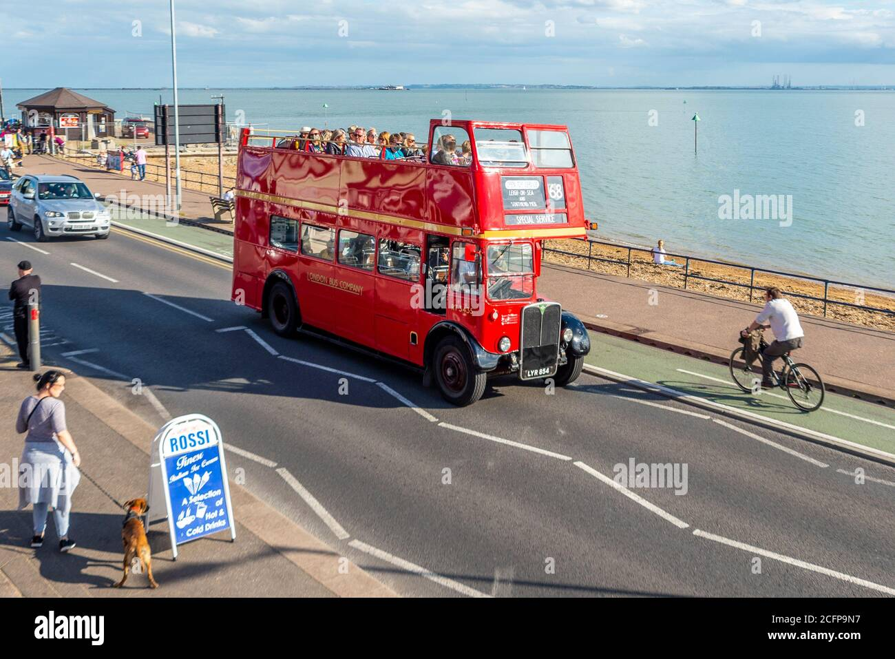AEC Regent III bus on Ensignbus Route 68 service along the seafront at Southend on Sea, Essex, UK. Special open top bus extravaganza event Stock Photo